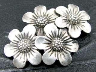 Vintage BEAU STERLING Brooch Floral Posies Figural Silver Pin