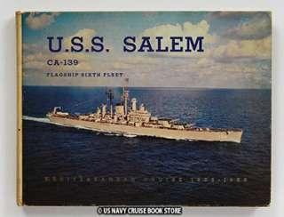 USS SALEM CA 139 MEDITERRANEAN CRUISE BOOK 1956 1958