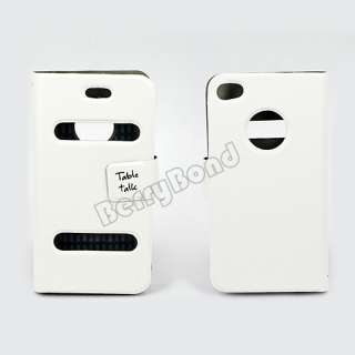 Talk Flip Leather Pouch Case Skin Cover for Apple iPhone 4 4G 4S White