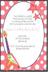 Personalized Girl Rock Star Birthday Invitations~Guitar