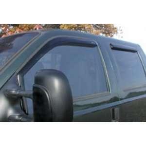 crew cab; In Channel Snap Inz Side Window Deflectors; 4 pcs; clear