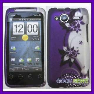 for Sprint HTC EVO Shift 4G   Purple Vines Rubberized Hard Case Phone