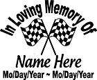 In Loving Memory Of CHECKERED FLAG RACING Decal Window Sticker