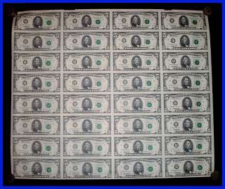 You are bidding on an Uncut Sheet of (32) $5 Bills / Federal Reserve