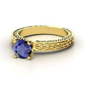 Charlotte Ring, Round Sapphire 14K Yellow Gold Ring