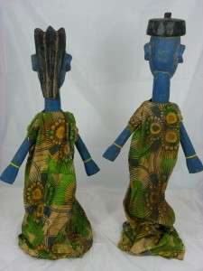 African Tribal Art BAMANA PUPPETS,Sogo bo Couple Figure Collectible