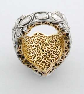 Vintage Style Rose Cut Diamond Pave .925 Sterling Silver 14k Gold Ring