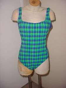 CHEROKEE BLUE & GREEN PLAID ONE PIECE SWIMSUIT SIZE XL