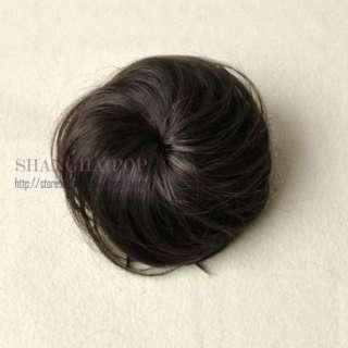Fake Bun Hair Extension Clip on Updo Chignon Women Costume Scrunchie