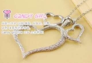 N451 silver triple heart love bj Fashion Necklace Pendant charm chain