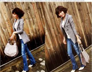 Korea Womens suit blazer YH2BL Jacket Gray Slim Fit Stylish