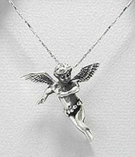 925 Silver Pixie Guardian Angel Wing Pendant Necklace