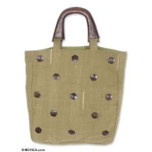 Cotton and coconut shell tote bag, Coconut Flowers