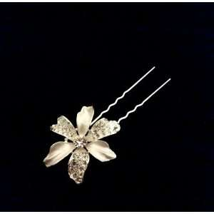 Wedding Hair Pin Rhinestones Crystal Flower Blossoms   Ideal for