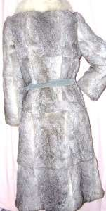 GRAY GENUINE RABBIT FUR FOX FUR COLLAR LONG COAT WITH SUEDE BELT SIZE