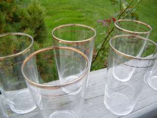 VINTAGE GOLD RIM BAND RING 4 5/8 TALL 12 oz WATER ICED TEA GLASS