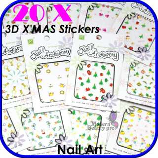 20 Sheet 3D Festival Christmas Cute Style Nail Art Tips XMAS Sticker