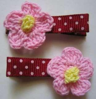 PINK CROCHET FLOWER BABY GIRL HAIR ALLIGATOR CLIPS 1 PR