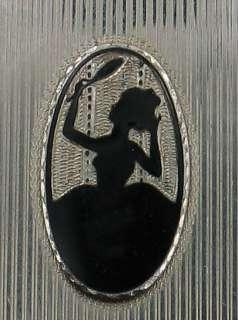 ANTIQUE DECO BLACK ENAMEL DFB Co DANCE COMPACT LADY
