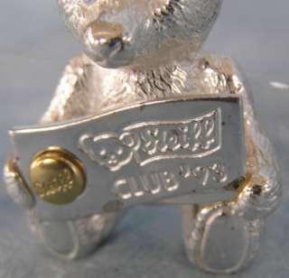 Sterling Silver Steiff Teddy Bear Club 93 Pin NICE   NR