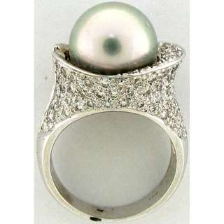 Pearl Solitaire & Diamond Ladies Ring 18k White Gold