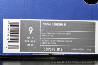 Zoom Lebron II 2 kobe jordan 309378 012 COOL GREY WHITE ROYAL 9