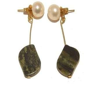 Pearl Earrings 03 Serpentine 14 Karat Gold White Green