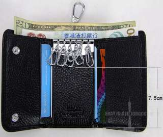 High quality leather trifold Wallet purse key bags & money keeper case