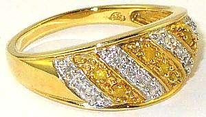 BEAUTIFUL YELLOW & WHITE DIAMOND BAND RING