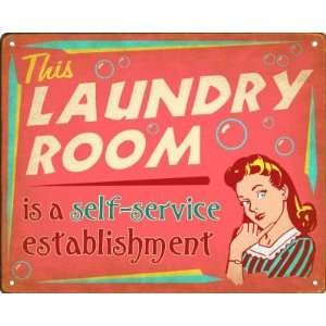 Laundry Room Self Service Retro Sign / Wall Plaque