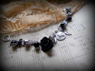 The Raven The Rose and The Moon Charm bracelet, wiccan