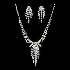 Bridal Wedding Jewelry Set Necklace Earring Crystal Rhinestone Tassel