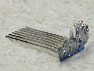 BLUE RHINESTONE CRYSTAL HAIR COMB for BRIDAL L47