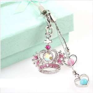 Cute Crown Cross Pink Crystal Cell Phone Charm Strap