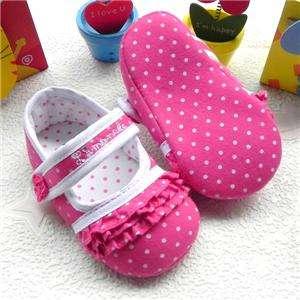Cutest Pokka Dots Pink Mary Jane Baby Girls Shoes 3 18m US Size 2, 3