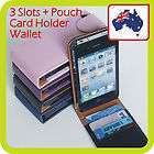 Apple iphone 4 4S 4GS LEATHER CARD HOLDER POUCH Slim Flip Case Cover