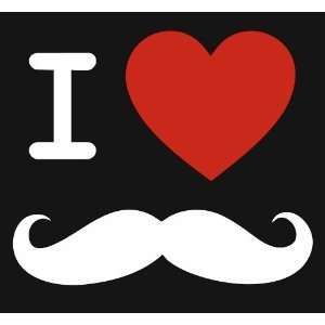 I Love Mustaches Heart Mustache Hipster Vinyl Decal