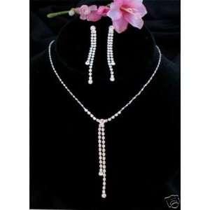 Linear Y Modern Bridal Wedding Prom Necklace Earring Jewelry Set