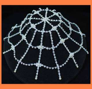 CLEAR AUSTRIAN RHINESTONE HEADPIECE BRIDAL BELLY DANCE PARTY