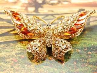 Large Dazzling Swarovski Crystal Element Jewelry Topaz Butterfly