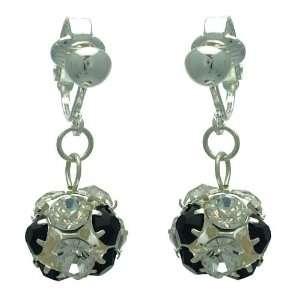 Delfina Silver Jet Crystal Clip On Earrings Jewelry