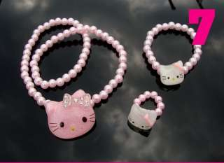 Hello Kitty Necklace, Ring, Bracelet 3 piece Gift Set White or Pink