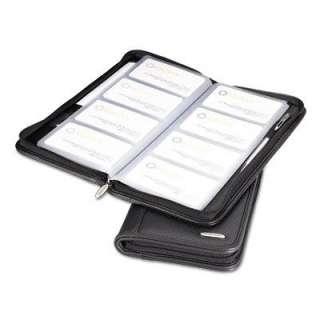 Rolodex Professional Organizer Leather Business Card Book, 96 Card Cap