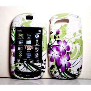 Purple Flower with Green Wave Snap on Hard Skin Shell Case