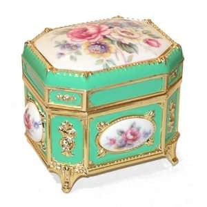 Jewelry Box, Octagonal Shape Victorian Floral Musical Box