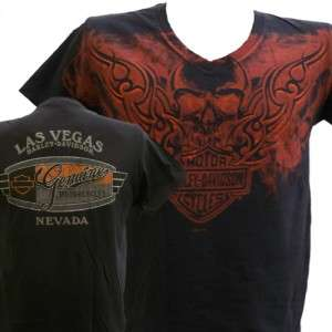 Davidson Las Vegas Dealer Tee T Shirt V Neck Skull BLACK 2XL #RKS