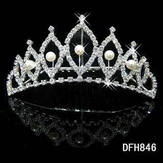 Wedding Bridal crystal PEARL veil tiara crown comb 0846