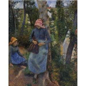 Oil Painting Two Young Peasants Chatting under e Trees