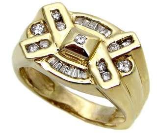 MENS ROUND BAGUETTE DIAMOND RING 14K YELLOW GOLD