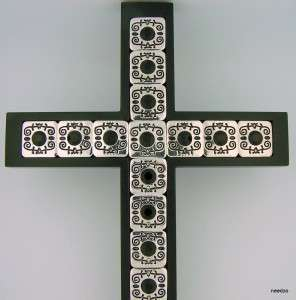 Religious Antique Silver Garnet Stones Wall Wood Cross